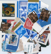 100 x 2nd Class Stamps (mixed designs) with lick and stick gum.